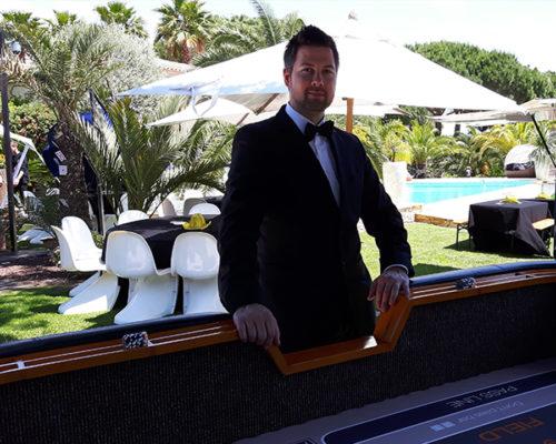 Crouper Mieten im luxuriösen Stil mit Pool und Palmen