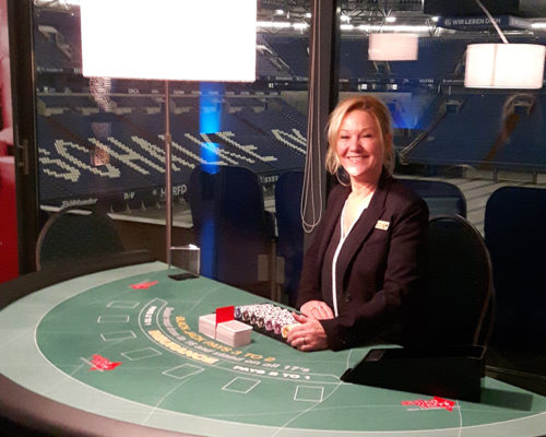Croupier im Casino der Veltinsarena auf Schalke
